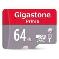 Gigastone 64GB Micro SD Card with Adapter, U1 C10 Class 10 90MB/S, Full HD available, Micro SDXC UHS-I Memory Card