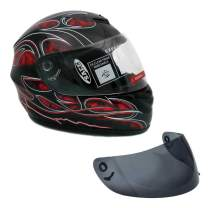 Motorcycle Full Face Helmet DOT Street Legal +2 Visors Comes with Clear Shield and Spare Smoked Shield (XXL, Red)
