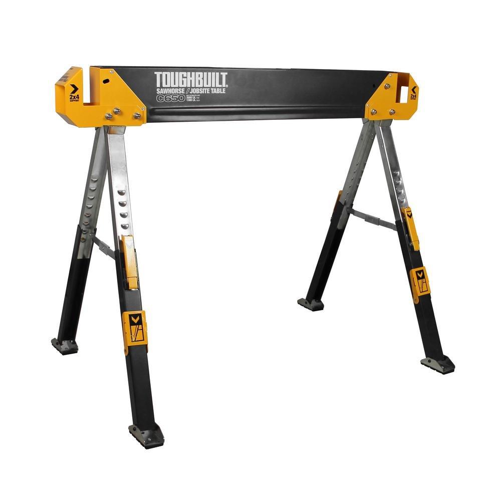 ToughBuilt - Folding Sawhorse/Jobsite Table - Sturdy, Durable, Lightweight, Heavy-Duty, 100% High Grade Steel, 1300lb Capacity, Pivoting Feet, Adjustable Height Legs, Easy Carry Handle (TB-C650) NEW