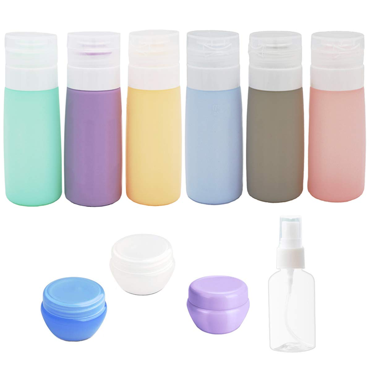 10Pack Travel Bottles Set -3Oz Leakproof Silicone Travel Bottles, Squeezable Travel Size Containers, TSA Approved Travel Toiletry Bottles, Travel Containers for Toiletries for Shampoo Lotion Soap
