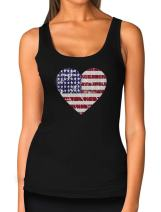 American Heart Flag USA Flag Heart Patriotic 4th of July Women's Tank Top