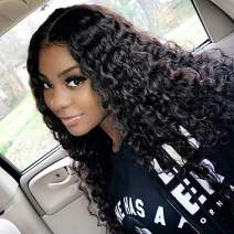 360 Lace Frontal Wigs Deep Wave Curly Lace Front Wigs Wet and Wavy Wigs Brazilian Virgin Human Hair with Baby Hair Pre Plucked Natural Hairline 150% Density(12 inch)