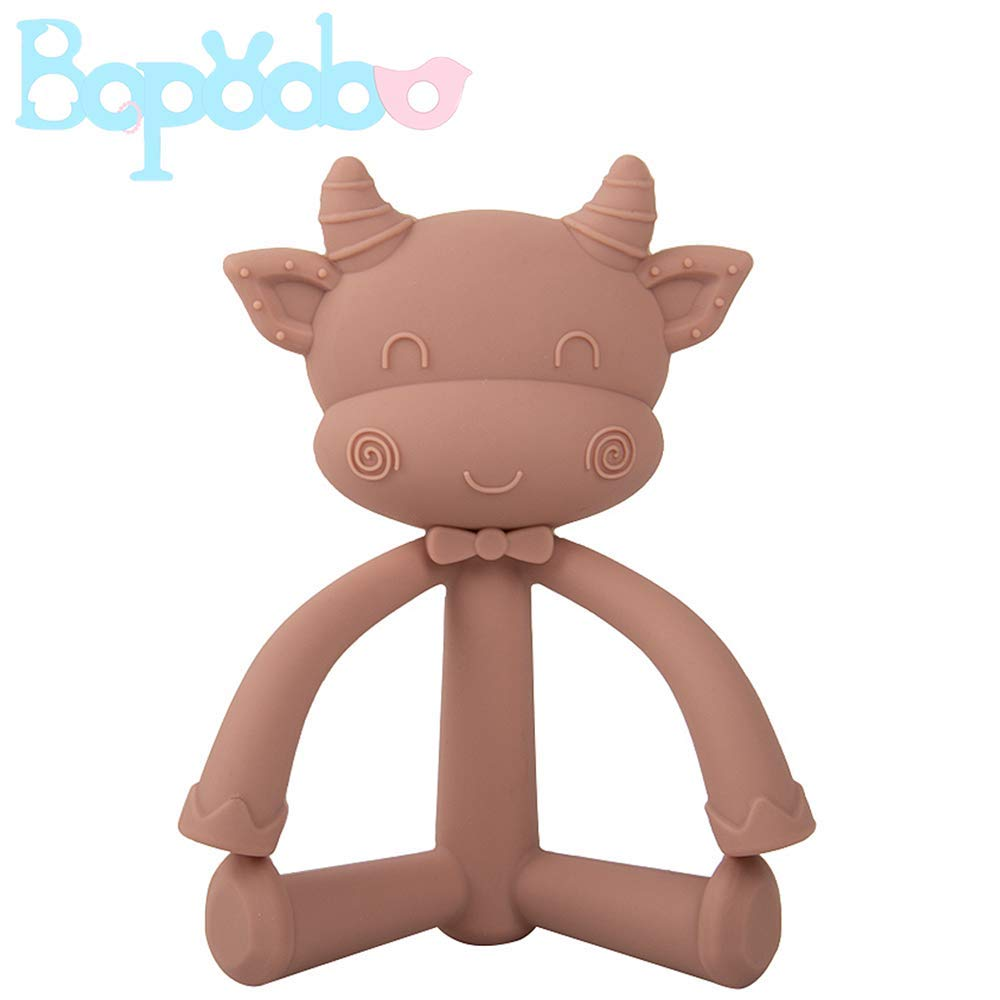 Silicone Teether Toy for Teething Pain,Textures Massage Gums,Baby Easy Hands Grasp for 3m+ Boys and Girls Shower Gift(Light Brown)