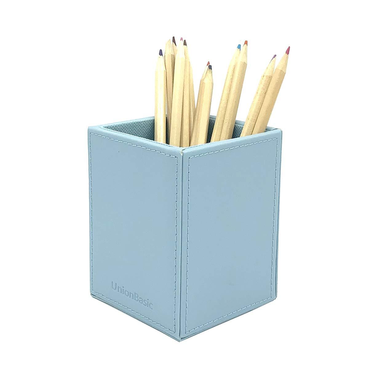 UnionBasic PU Leather Square Pens Pencils Cup Holder Desk Stationery Organizer (Blue)