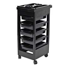 Beauty Salon Cart, Portable Beauty Storage Organizer Holder Rolling Cart Removable Hairdresser Barber Roller Trolley Hair Dryer Service Tray with 5 Drawers Black