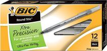 BIC Round Stic Xtra Precision Ballpoint Pen, Fine Point (0.8mm), Black, 12-Count