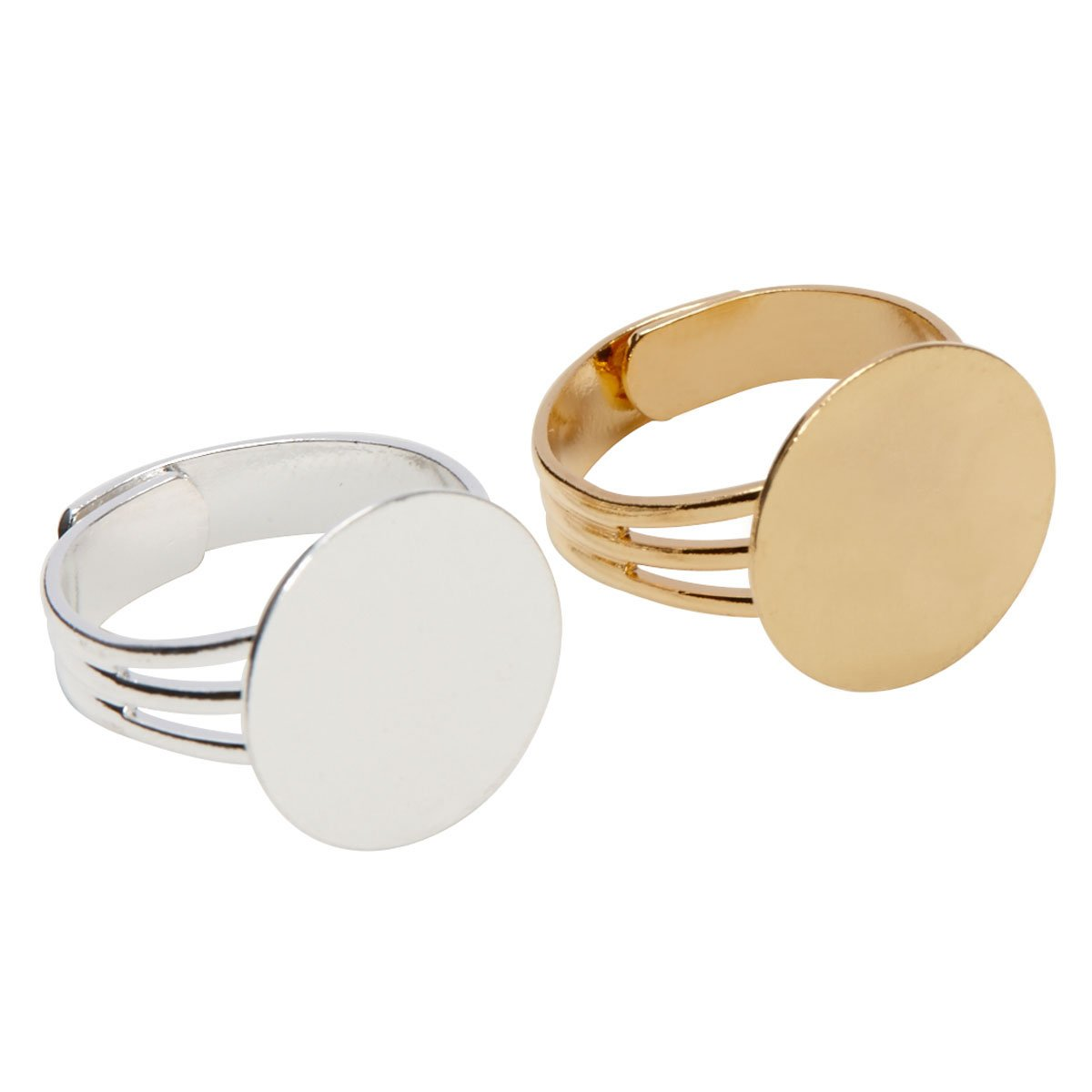 Gold and Silver Plated Ring Blanks with 16mm Flat Adjustable Ring Base 6 Pieces Gold and 6 Pieces Silver - 12 Blank Rings Total