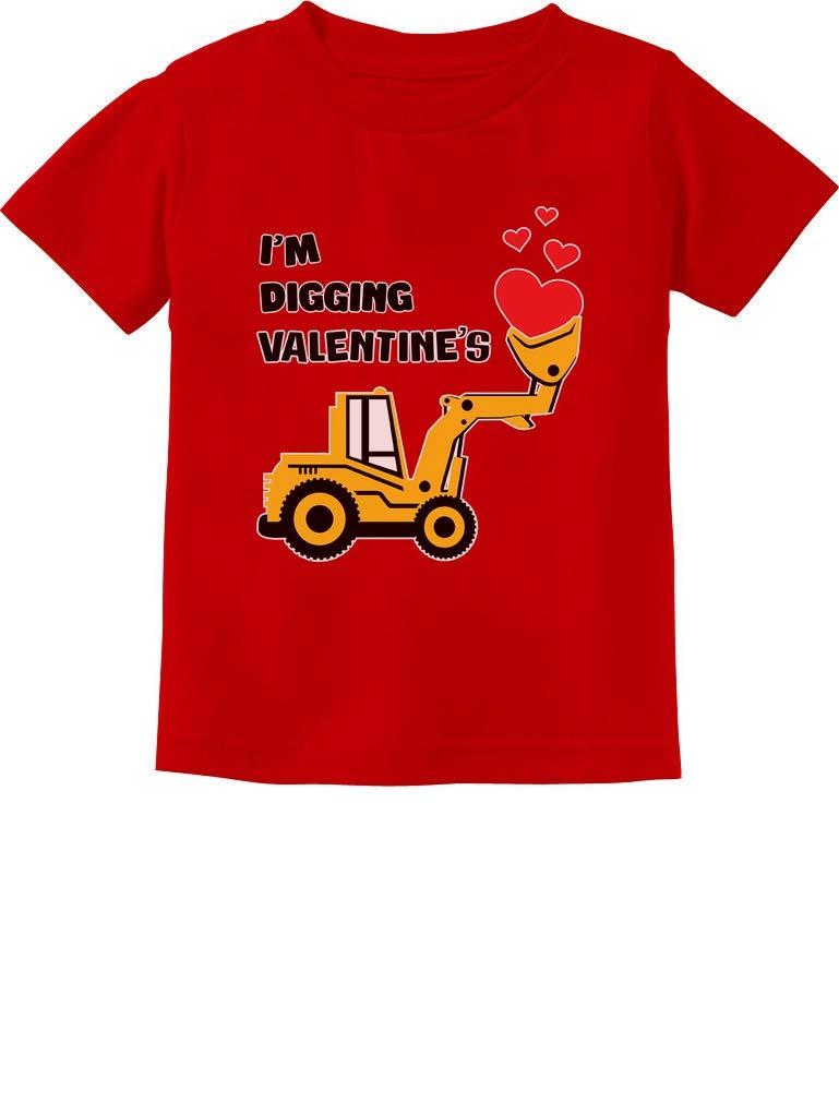 I'm Digging Valentine's Gift for Tractor Loving Boys Toddler Infant Kids T-Shirt 12M Red