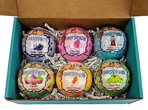 Bela Kids Fizzy Fun Bath Bombs, 6 Kid-Friendly Scents, Made in the USA, Organic Coconut Oil, Great for Holiday or Birthday Gifts, Extra Large 4.5 oz Each - 6 Pack