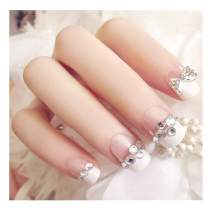 Fstrend 24Pcs False Nails Bling Rhinestone Full Cover Acrylic White Press on Fake Nails for Women and Girls