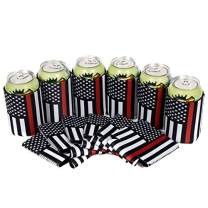 QualityPerfection Set Of 6 - Firefighter USA Black Flag with Red Line Neoprene Beer Can Cooler Sleeve Collapsible Coolie Bulk Insulation with Stitches Perfect 4 Fire Fighter/Sport Events,Memorial Day