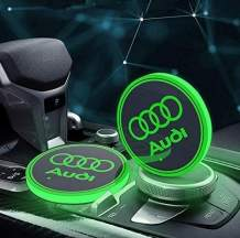 Auralight 2pcs fit Audi LED Car Cup Holder Lights with Car Logo 7 Colors Changing USB Charging Mat Luminescent Cup Pad, LED Interior Atmosphere Lamp