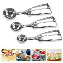 LAO XUE Cookie Scoop Set, Stainless Steel Cookie Scoops with Trigger Release,Include Large-Medium-Small Sizes Balls for Perfect for Cookie, Ice Cream, Cupcake, Muffin, Meatball