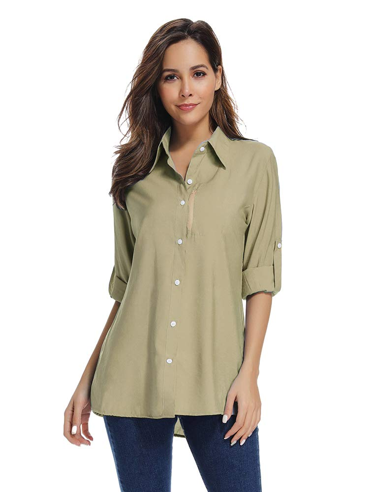 Women's Quick Dry Sun Protection Short Sleeve Wicking Shirts for Hiking Camping Fishing Sailing (19 Khaki, XX-Large)