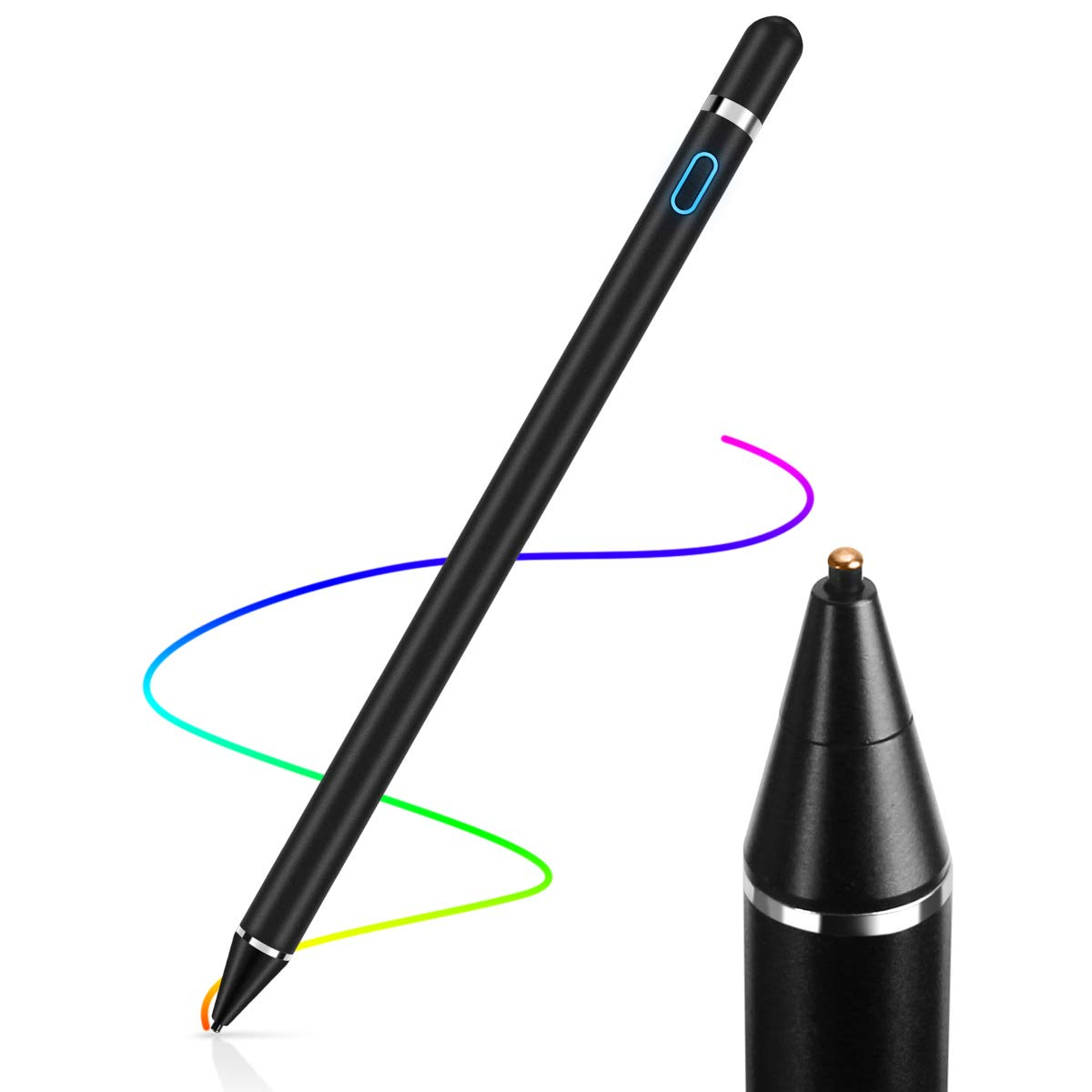 AICase Stylus Pens for Touch Screens, 1.45mm High Precision and Sensitivity Point IPad Pencil Fine Point Active Smart Digital Pen for Tablet Work at iOS and Android Touch Screen (Black)