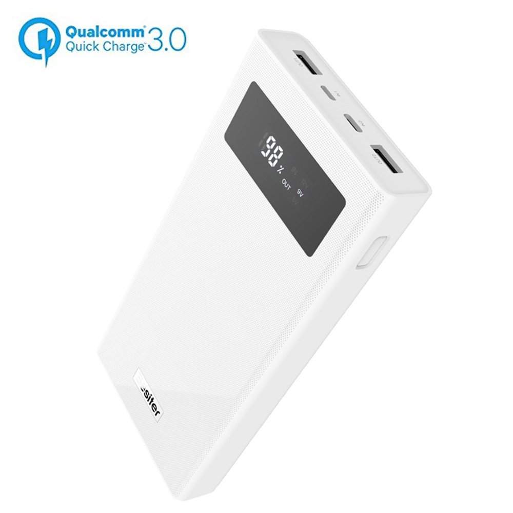 20000mAh Portable Charger,Quick Charge 3.0 Dual Input Output Typec-C Port with LCD Display High Capacity Power Bank,External Battery Pack for iPhone, Samsug,Android and More (White)