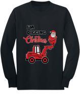 Santa I'm Digging Christmas for Boys Toddler/Kids Long Sleeve T-Shirt