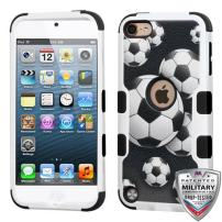 Microseven iPod Touch 7th 6th 5th Generation Case Shockproof Hybrid Hard Silicone Shell Impact Cover with Screen Protector for iPod Touch 7 (2019), iPod Touch 5/6 (2015), Ball Sports Soccer