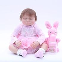 """OtardDolls 20"""" Reborn Baby Dolls,Lifelike Realistic Cute Closed Eyes Girl with Pink Dress,Free Pink Rabbit Plush,Pacifier Soft Vinyl Baby Children Gifts Ages 3+"""