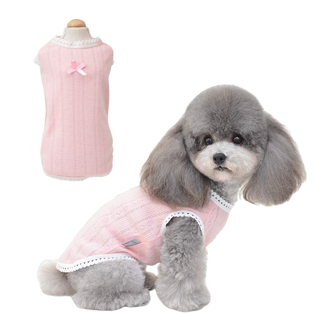 Petter Pet Clothes for Dog Cat Dog Shirt Pet Shirts Cotton Puppy Clothes Summer Dog Vest Cat Shirts Breathable Pet Apparel Dog Clothes for Small to Medium Dog (Pink, L)