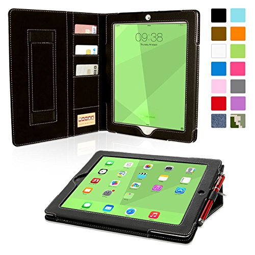 Snugg iPad 4 and 3 Case, Executive Black Leather Smart Case Cover Apple iPad 4 and 3 Protective Flip Stand Cover With Auto Wake/Sleep