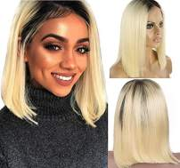 Ombre Blonde Lace Front Wigs Virgin Human Hair #1b/613 2Tone Straight 12inch 180% Density Middle Part Remy Hair Pre Plucked Bleached Knots 13x4 Lace Frontal 180% Density for Women(could be restyle)