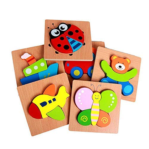 Wooden Puzzles Animal Chunky Puzzles for Toddlers - 6 Pack a Set Kids Educational Early Learning Car Butterfly Ship Bear Plane Ladybird Jigsaw Puzzle Montessori Toy