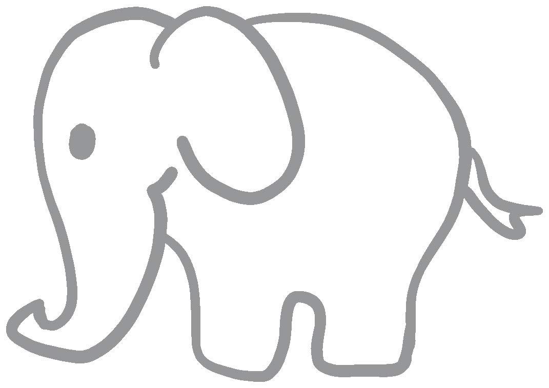 hBARSCI Elephant Vinyl Decal - 5 Inches - for Cars, Trucks, Windows, Laptops, Tablets, Outdoor-Grade 2.5mil Thick Vinyl - Gray
