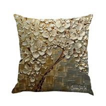 MHB Oil Painting Brown Large Tree and White Flower Cotton Linen Throw Pillow Covers 15% Cotton and 85% Polyester Pillowcase 18 x18 Inch (Multicolor)