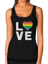 Gay Love Rainbow Heart Tank Top LGBT Gay Pride Awareness Women Tank Top
