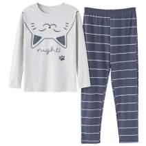 Big Girls Pajamas Set -Cute Bunny Long Sleeve and Pant Casual Loungewear Young PJS Size 12-16