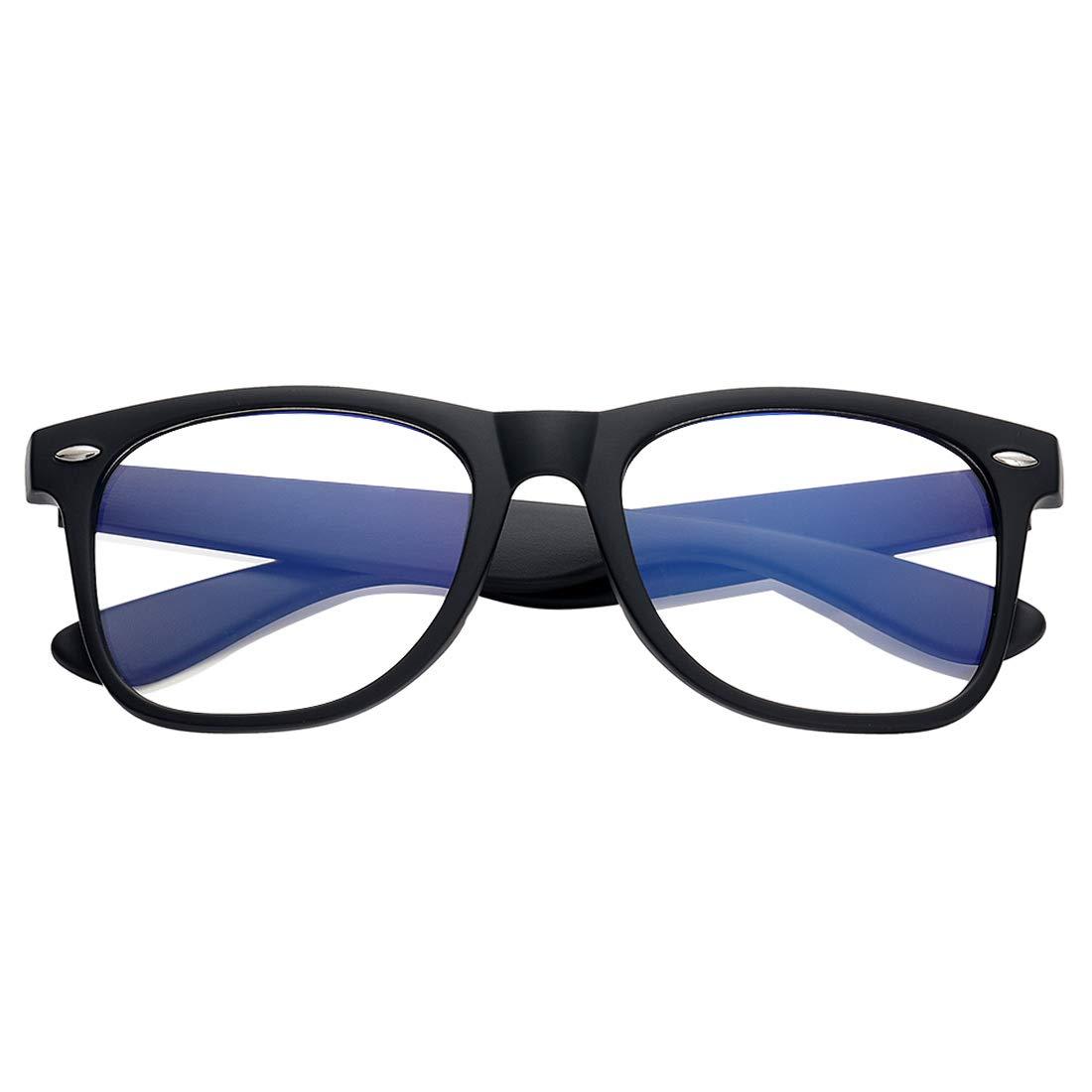 Blue Light Blocking Glasses Large Face Square/Semi-Rimless Computer Game Glasses