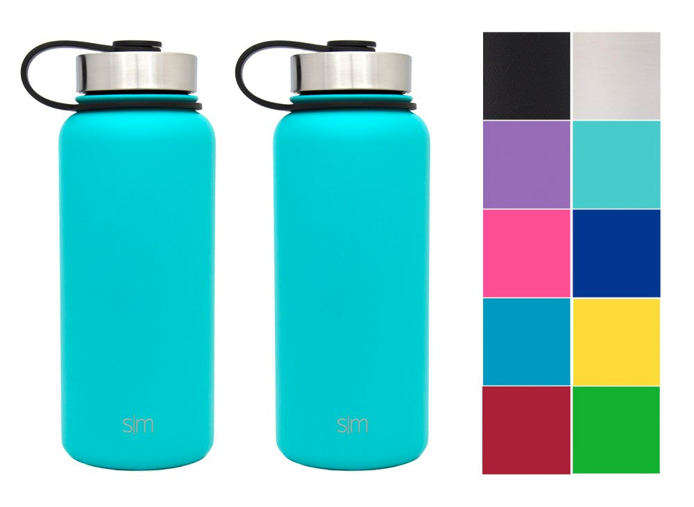 Simple Modern 32oz Summit Water Bottle 2 Pack - Two Vacuum Insulated 18/8 Stainless Steel Wide Mouth Hydro Travel Mugs - Powder Coated Double-Walled Flask - Caribbean Blue/Caribbean Blue