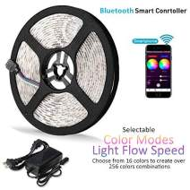 LENCOR Color Changing Light Strip, 16.4ft RGB SMD 5050 LED Flexible Strip Light with Bluetooth Smartphone APP Controller & 5V Power Supply for iOS and Android System, Non-Waterproof