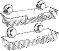 ARCCI Suction Shower Caddy, Shower Shelf Basket with Hooks, Wall Mounted Bathroom Organizer - 304 Stainless Steel Shower Rack for Shampoo, Conditioner Razor, 2 Sets