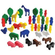 """Constructive Playthings Set of 36 Wooden Figures 1/2"""" Thick and 3 1/4"""" T. Giraffe for Ages 3 Years and Up"""