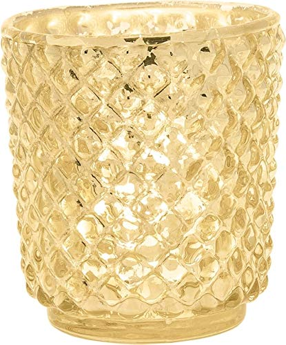 Luna Bazaar Vintage Mercury Glass Vase and Candle Holder (3-Inch, Small Rachel Design, Gold) - Decorative Flower Vase for Home Décor, Party Decorations and Wedding Centerpieces