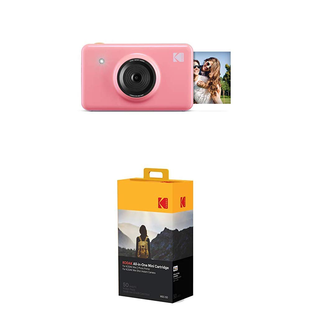 Kodak Mini Shot Wireless Instant Digital Camera & Social Media Portable Photo Printer (Pink) with Photoprinter Cartridge MC All-in-One Paper and Color Ink Cartridge Refill(50 Pack)