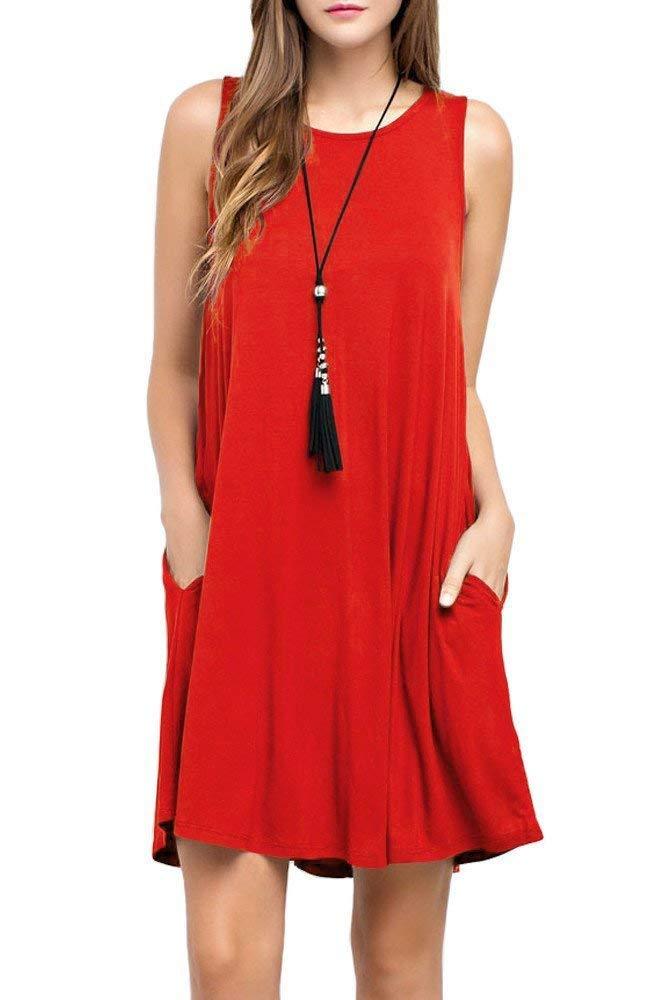 CLANDY Sundresses for Women Beach, Womens Summer Sleeveless Irregular Flowy Dress Sexy Tank Dress Red Size S