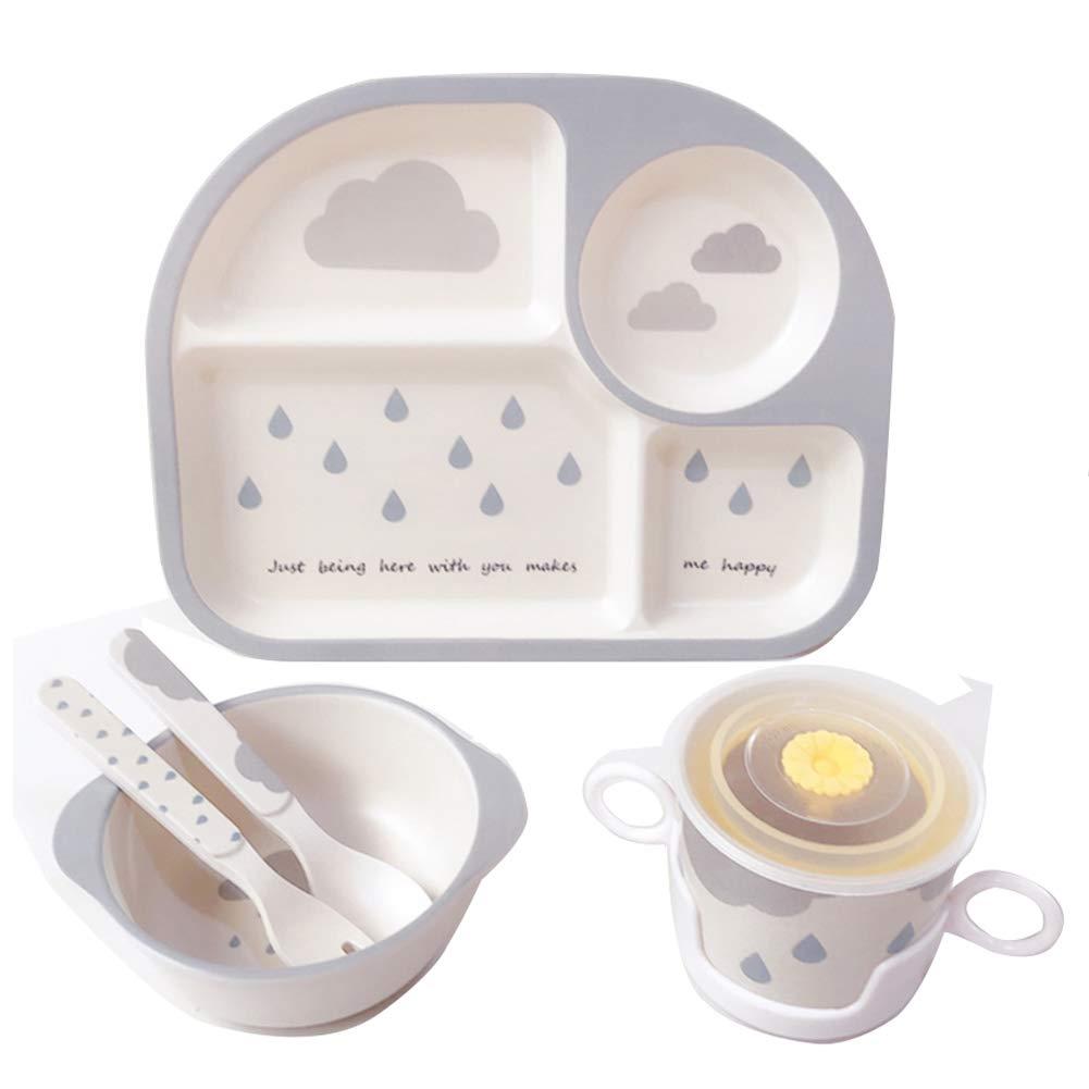 Shopwithgreen 5Pcs/Set Bamboo Fiber Children Board Food Plate Bowl Cup Spoon Fork Set Dishware Cartoon Tableware Dishwasher Safe Kids Healthy Mealtime (Rain)