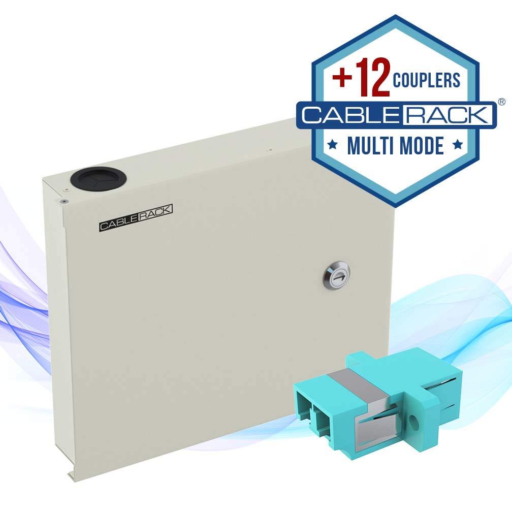 CableRack Fiber Optic Wall Mount Enclosure Box with 12 Duplex LC Multimode Aqua Couplers