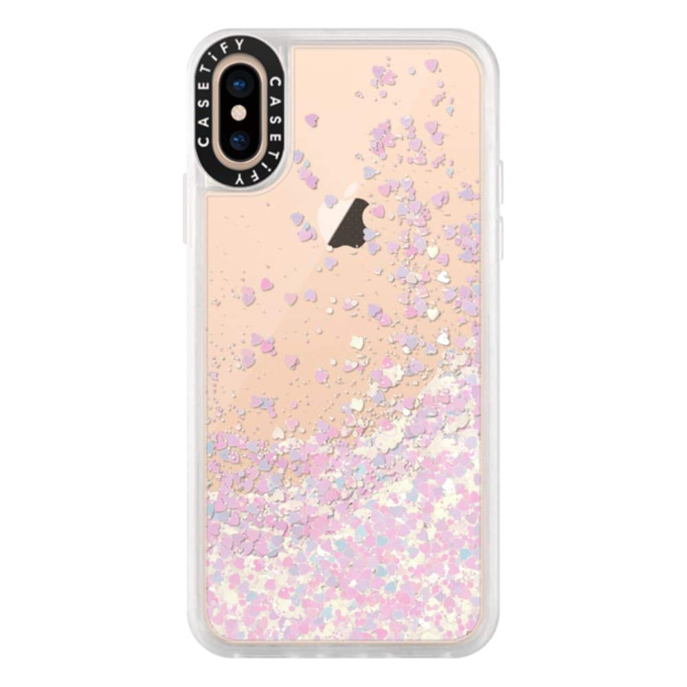 Casetify Pink Glitter iPhone Xs/X Case with Unicorn Pink Floating Glitter Sparkle in Liquid Clear Back and Shockproof Drop Proof Frost Bumper and Wireless Charging Compatibility for iPhone Xs/X