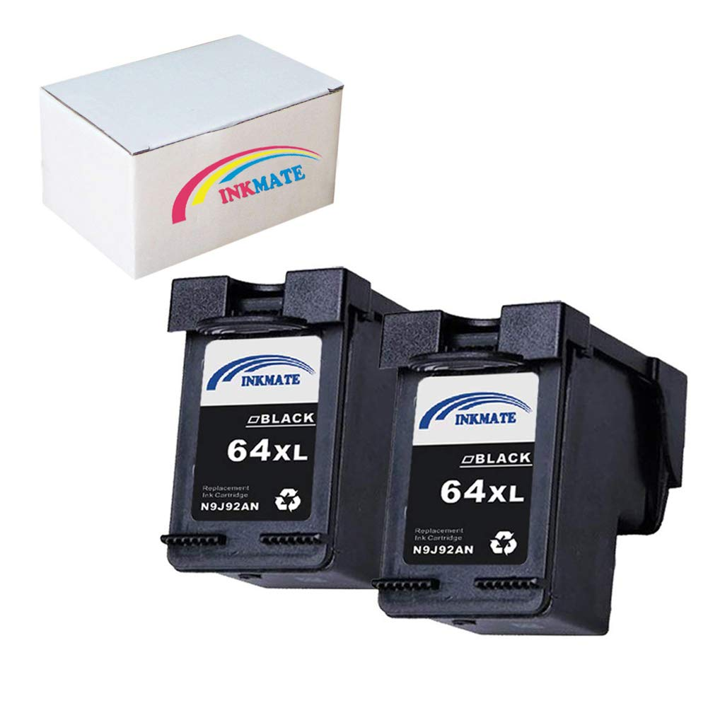 INKMATE Re-Manufactured Ink Cartridge Replacement for HP 64XL for N9J92AN Envy 6255 7155 7855 2BK 2Pack (2Black, 2Pack)