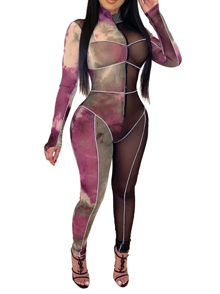 Women Sexy See Through Sheer Mesh Jumpsuits Color Block Two Piece Long Pants Outfit Rompers Night Club Wear