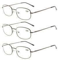 Eyekepper Metal Frame Spring Hinged Arms Reading Glasses 3 Pair Valupac Metal Readers +1.5
