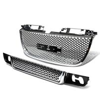 DNAMW GRF-051+053-CH Chrome Front Upper Lower Bumper Grille Guard (for 07-12 GMC Yukon)
