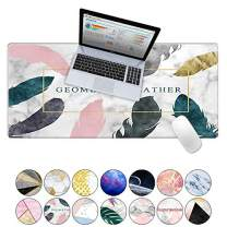 """LuvCase Desk Pad, Office Desk Mat, 35.4"""" x 15.7"""" PU Leather Desk Blotter, Laptop Desk Mat, Waterproof Desk Writing Pad for Office and Home Decor, Thick Gaming Mouse Pad (Geometric Feather)"""