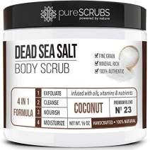 pureSCRUBS Premium Organic Body Scrub Set - Large 16oz COCONUT BODY SCRUB - Dead Sea Salt Infused Organic Essential Oils & Nutrients INCLUDES Wooden Spoon, Loofah & Mini Organic Exfoliating Bar