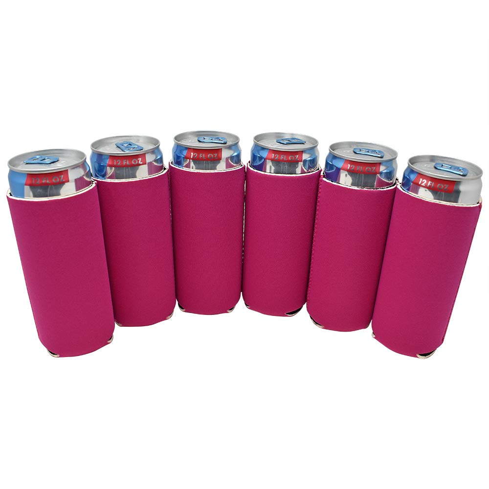 TahoeBay 12 Slim Can Sleeves - Blank Neoprene Beer Coolers – Compatible with 12oz RedBull, Michelob Ultra, White Claw Spiked Seltzer (Raspberry, 12)