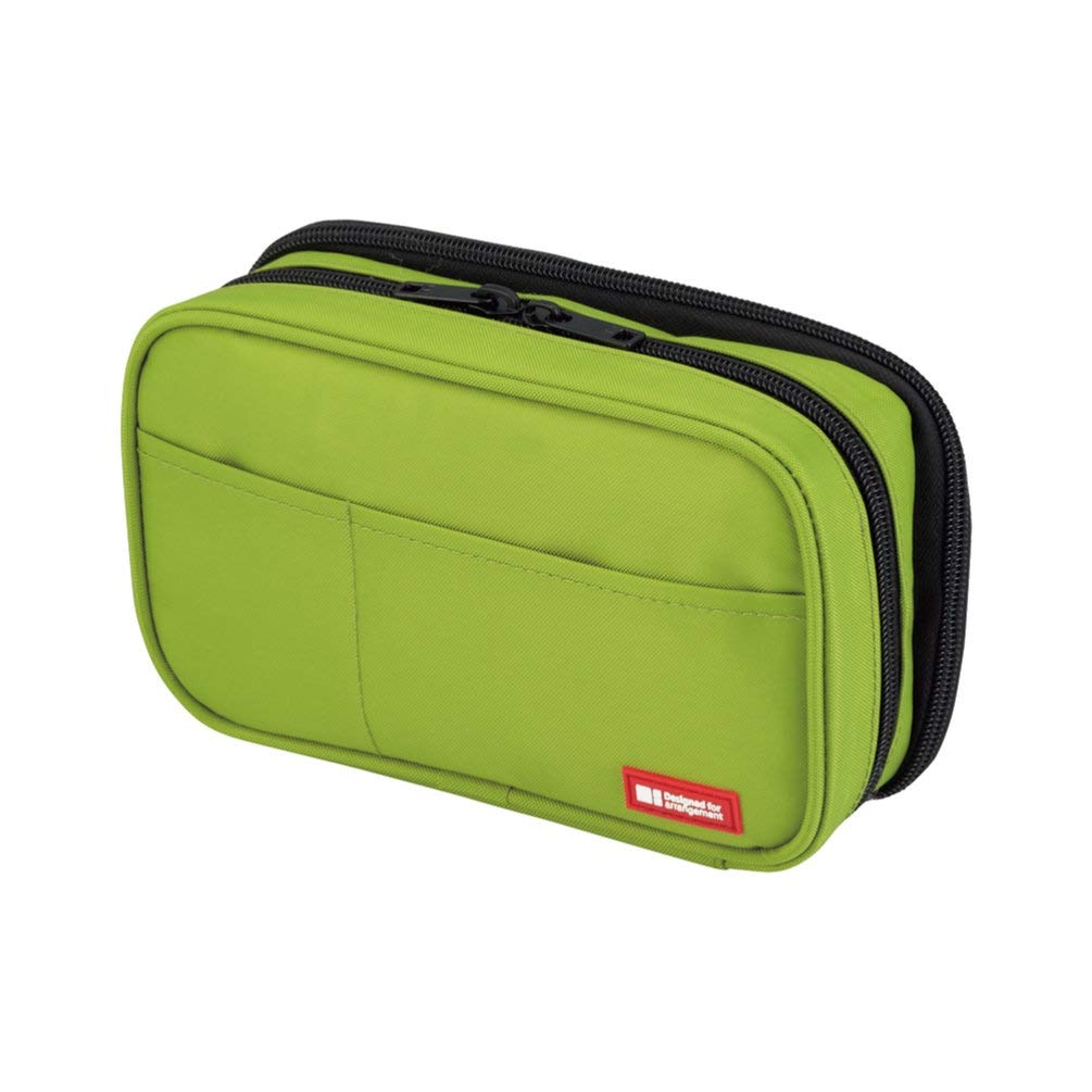 LIHIT LAB Double Zipper Pen Case, 7.9×2.8×4.7 inches,  Yellow Green (A7555-6)
